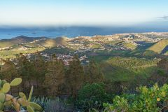 Sunset view from Pico de Bandama, Gran Canaria, Spain Royalty Free Stock Image