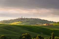 Sunset view of Pienza Stock Photo