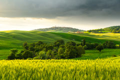 Sunset view of Pienza Stock Images