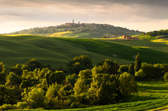 Sunset view of Pienza Stock Photography