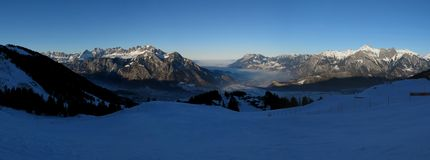 Sunset view from the Pizol ski area Stock Images