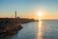 Sunset view of Point Arena Lighthouse in Mendocino County, Northern California. California coast at Sunset. Point Arena Lighthouse in Mendocino County, Northern royalty free stock photos