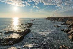 Sunset view of Point Arena Lighthouse in Mendocino County, Northern California Royalty Free Stock Image