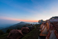 Sunset view point , doi angkhang , chiangmai , thailand Royalty Free Stock Photo