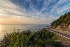 Sunset view point by the sea. Chanthaburi Province, Thailand Stock Images