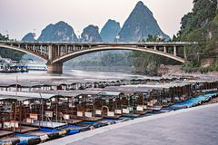 Sunset view of the port on Li River royalty free stock photography