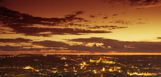 The sunset view on Prague with castle and national theatre Royalty Free Stock Images
