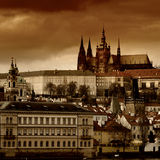 Sunset View of The Prague Castle over Vltava Stock Images