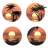 Sunset view at resort. Seaside holiday set. Royalty Free Stock Images