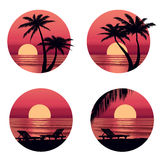 Sunset view at resort. Seaside holiday set. Stock Photos