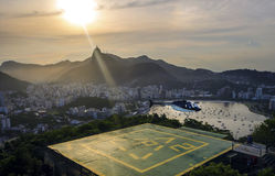 Sunset view of Rio de Janairo, Brazil. With helicopter royalty free stock photo