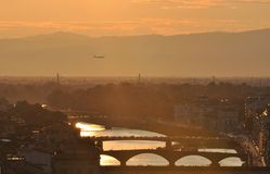 Sunset view or river Arno in Florence Stock Image