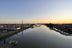 Sunset View from a River Bridge Royalty Free Stock Images