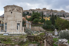 Sunset view of Roman Agora in Athens, Greece Royalty Free Stock Images