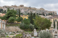Sunset view of Roman Agora in Athens, Greece Royalty Free Stock Photo