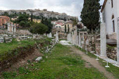 Sunset view of Roman Agora in Athens, Greece Stock Photos