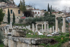 Sunset view of Roman Agora in Athens, Greece Stock Image