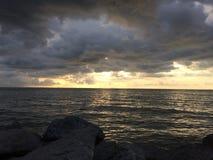 Sunset view in Sabak Bernam, Selangor, Malaysia Royalty Free Stock Image