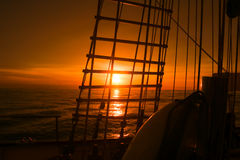 Sunset view from sailing ship. Beautiful sunset view from the sailing ship Stock Images