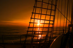 Sunset view from sailing ship Stock Photography
