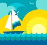 Sunset view with sailing yacht vector illustration