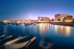 Sunset view of San Antonio beach and Ibiza, Spain. Sunset view of San Antonio beach and Ibiza clubs, Spain Stock Photo