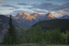 Sunset view in San Juan Mountains in Colorado Stock Images