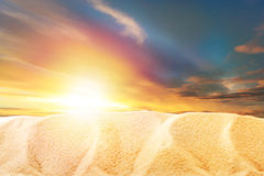 Sunset view with sand Royalty Free Stock Photos