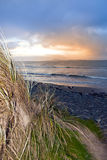 Sunset view from the sand dunes of Beal Royalty Free Stock Photo