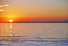 Sunset view of Santa Catalina Island with paddle boarder. Winter sunset view of Santa Catalina Island. Image, taken from Heisler Park, Laguna Beach. California royalty free stock photos