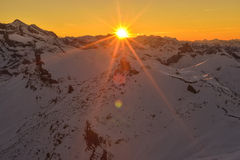 Sunset view from Schilthorn 360° Restaurant Piz Gloria Stock Photo
