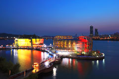 Sunset view of Seoul city  banpo Park artificial island Royalty Free Stock Image