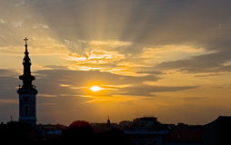 Sunset view of Serbia stock images