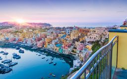 Sunset view of Procida Island, Italy royalty free stock images