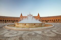 Sunset view of the Seville, Spain. Spanish square Plaza de Espana stock image