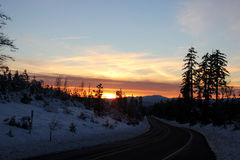 Sunset view from Shasta Road on Christmas day Stock Images