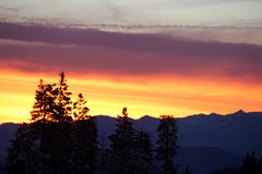 Sunset view from Shasta Road on Christmas day Royalty Free Stock Photo
