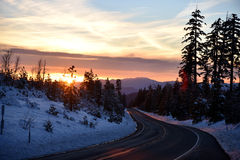 Sunset view from Shasta Road on Christmas day Royalty Free Stock Image