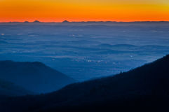 Sunset view of the Shenandoah Valley from Blackrock Summit, in S Royalty Free Stock Image
