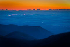 Sunset view of the Shenandoah Valley from Blackrock Summit, in S Stock Photography