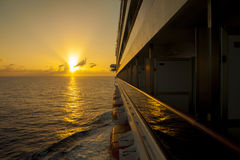 Sunset view from ship balcony Stock Photo