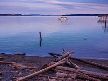 Sunset view at the shore in Sidney, Vancouver Island, British Co Stock Photography