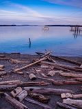 Sunset view at the shore in Sidney, Vancouver Island, British Co Royalty Free Stock Photos