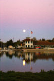 Sunset view of Shoreline Park Lake in evenings, Mountain View, California, USA Royalty Free Stock Photography