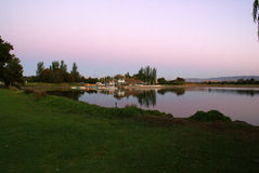 Sunset view of Shoreline Park Lake in evenings, Mountain View, California, USA Royalty Free Stock Images