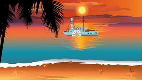 Sunset view with silhouette palm tree and steamship slowly in the ocean. vector illustration
