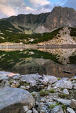 Sunset view of Sinanitsa peak and lake, Pirin Mountain Royalty Free Stock Images