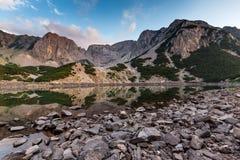 Sunset view of Sinanitsa peak and  the lake, Pirin Mountain Royalty Free Stock Photo
