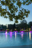 Sunset view Singing Fountains in City of Plovdiv. Bulgaria Tsar Simeon Garden Royalty Free Stock Photography
