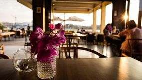 Sunset view sitting at a riverside cafe royalty free stock images